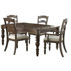 Bowery Hill 5 Piece Extendable Dining Set in Dark Pine