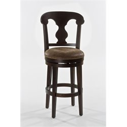 MER-1184 Faux Leather Swivel Bar Stool in Dark Brown