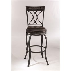 MER-1184 Faux Leather Swivel Bar Stool in Black Silver