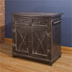 Bowery Hill Marble Top Kitchen Island in Antique Black