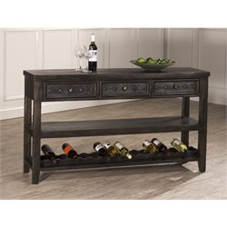 Bowery Hill Wine Rack Console Table in Dark Gray