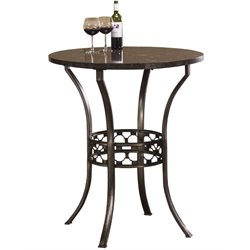 Bowery Hill Round Stone Top Pub Table in Antique Pewter