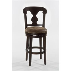 Bowery Hill Faux Leather Swivel Counter Stool in Dark Brown