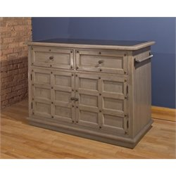 Bowery Hill Granite Top Kitchen Island in Gray
