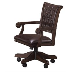 Bowery Hill Faux Leather Game Chair in Brown Cherry