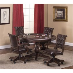 Bowery Hill 5 Piece Faux Leather Game Set in Brown Cherry