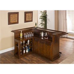 Bowery Hill L Shaped Home Bar in Brown Cherry