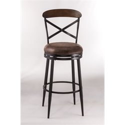 MER-1184 Faux Leather Swivel Bar Stool in Black