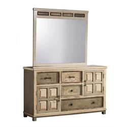 MER-1184 4 Drawer Dresser in Rustic White Gray