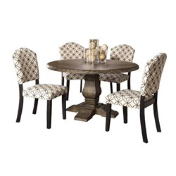 Bowery Hill 5 Piece Round Dining Set in Washed Charcoal Gray