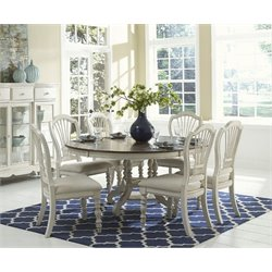 MER-1184 Round Dining Set in Old White 1