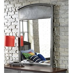 Bowery Hill Metal Mirror in Black Steel
