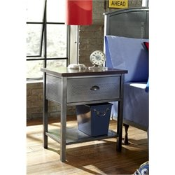 Bowery Hill Metal Nightstand in Black