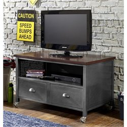 Bowery Hill 2 Drawer Media Chest with Casters in Black Steel