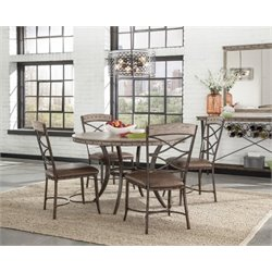 Bowery Hill 5 Piece Round Dining Set in Washed Gray