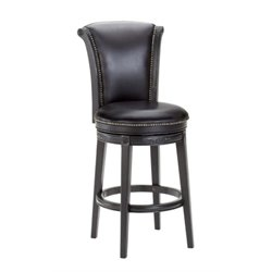 MER-1184 Leather Swivel Bar Stool in Black 1