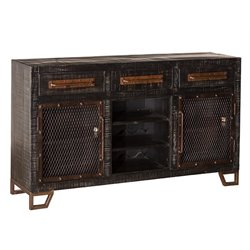 Bowery Hill 5 Drawer Wine Rack Sideboard in Black