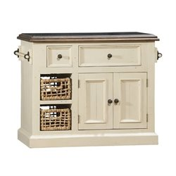MER-1184 Granite Top Kitchen Island in White