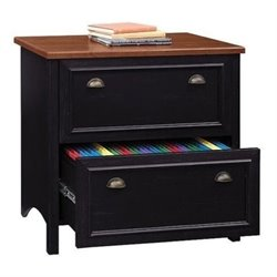 Bowery Hill 2 Drawer File Cabinet in Antique Black and Cherry