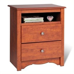 Bowery Hill Tall 2 Drawer Nightstand in Cherry