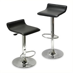 Bowery Hill Adjustable Air Lift Bar Stool in Black (Set of 2)