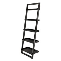 Bowery Hill 5 Shelf Leaning Ladder Bookcase in Black