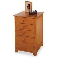 Bowery Hill 4 Drawer Wood Vertical Filing Cabinet in Honey Pine