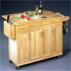 Bowery Hill Kitchen Cart with Breakfast Bar in Natural