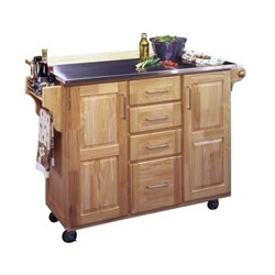 MER-1176 Kitchen Cart with Breakfast Bar in Natural