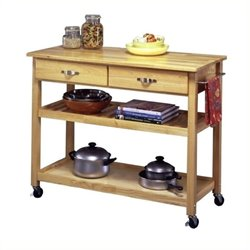 Bowery Hill Solid Wood Top Kitchen Cart in Natural