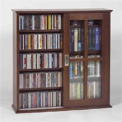 Bowery Hill Sliding Door Wall Hanging Cabinet in Walnut