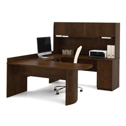 Bowery Hill U-Shaped Wood Office Set with Hutch in Chocolate