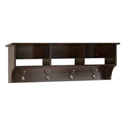 Bowery Hill Entryway Cubbie Shelf Coat Rack in Espresso