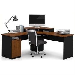 Bowery Hill Wood Home Office Corner Computer Desk in Tuscany Brown