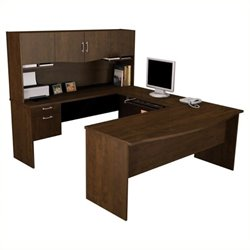 Bowery Hill U-Shaped Wood Home Office Set in Chocolate