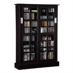 Bowery Hill Windowpane Sliding Glass Door Media Cabinet in Espresso