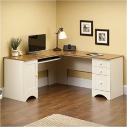 Bowery Hill Corner Computer Desk in Antiqued White