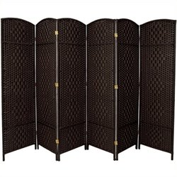Bowery Hill 6 Panel Diamond Weave Fiber Room Divider in Black