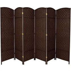 Bowery Hill 6 Panel Diamond Weave Fiber Room Divider in Dark Mocha