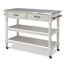 Bowery Hill Stainless Steel Top Kitchen Cart in White