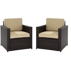 Bowery Hill Wicker Patio Chair (Set of 2)