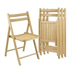 Bowery Hill Folding Chair in Beech (Set of 4)
