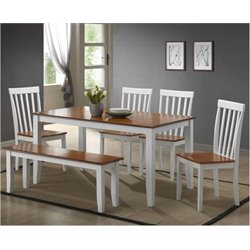 Bowery Hill 6 Piece Dining Set in White Honey Oak