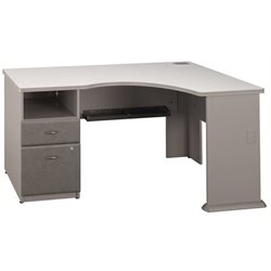 Bowery Hill 2 Drawer Pedestal Corner Desk in Pewter