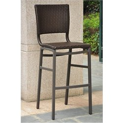 Bowery Hill Wicker Aluminum Patio Bar Stool (Set of 2)