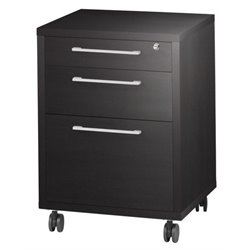 Bowery Hill 3 Drawer Wood Mobile Filing Cabinet in Coffee