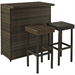 Bowery Hill 3 Piece Wicker Patio Pub Set