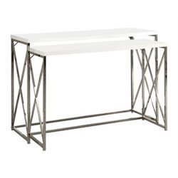 Bowery Hill 2 Piece Metal Console Table Set in Glossy White
