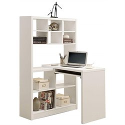 Bowery Hill Computer Desk with Bookcase in White