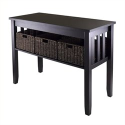 Bowery Hill Console Table with 3 Foldable Basket in Espresso